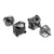 Black Princess Cut Earrings Solitaire Screw On Simulated Diamonds