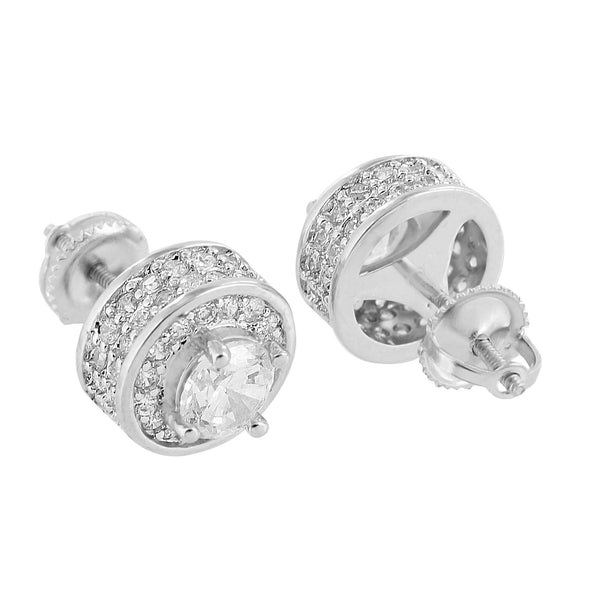 Solitaire Round Cut Earrings 14K White Gold Finish Lab Diamond Iced Out Screw On