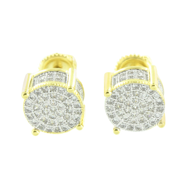 Mens Round Shape Earrings Yellow Gold Tone Screw On Pave Set