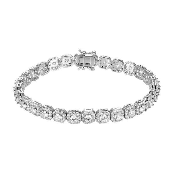 Men's Iced Out Hexagon Shape Link tennis Bracelet
