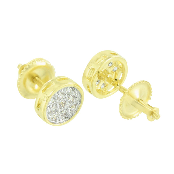 Round Shape Design Earrings Simulated Diamonds Screw Back 7 MM