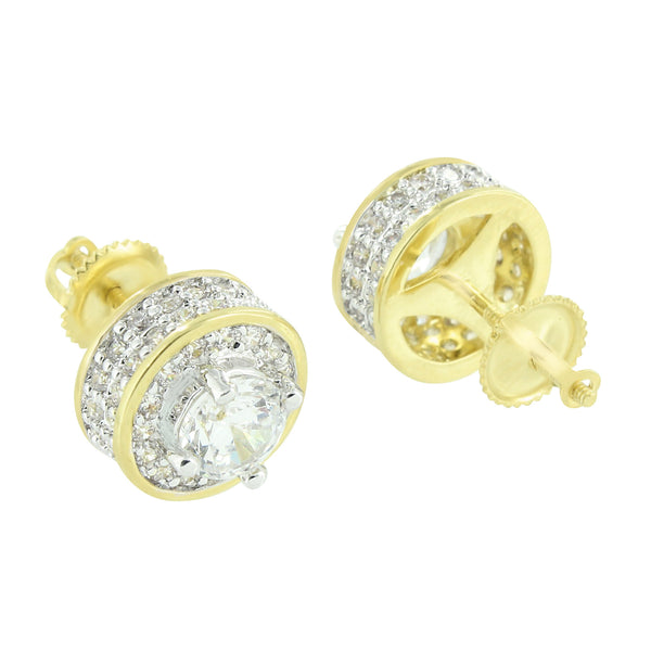 14K Gold Tone Earrings Round Screw Back Lab Diamonds Solitaire Stone Brand New