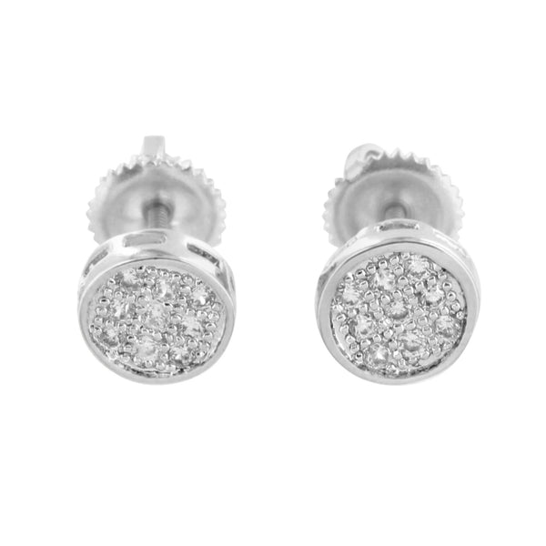 White Round Design Earrings Simulated Diamond Studs Screw On