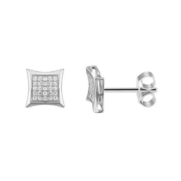 Iced Out lab diamonds Sterling Silver Kite Shape trim 14k White Gold Finish Designer Earrings