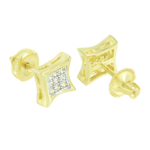 Gold Kite Design Earrings Lab Diamonds 8MM Screw Back Micro Pave 14k Finish New