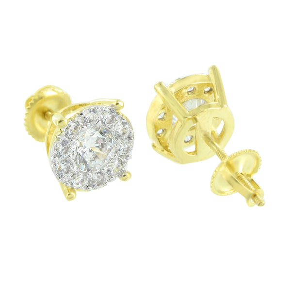 Solitaire Round Earrings Studs Gold Finish Cluster Set Simulated Diamonds