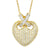 Designer 14k Gold Finish Puffed Heart Ribbon Pendant Valentine's