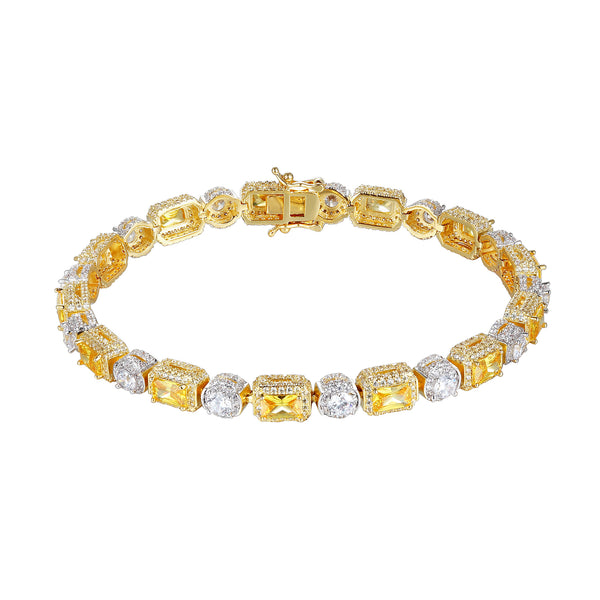 14k Gold Finish Canary Stones custom Tennis Bracelet