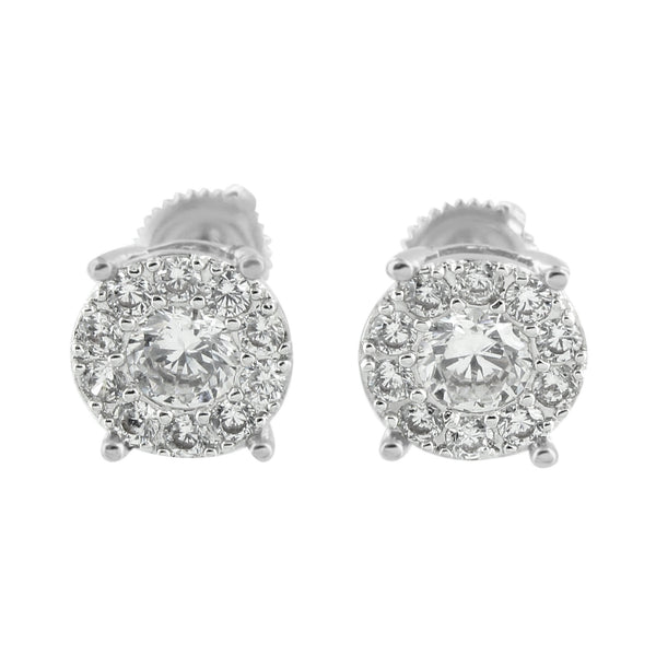 Mens White Finish Earrings Solitaire Simulated Diamonds Screw Back