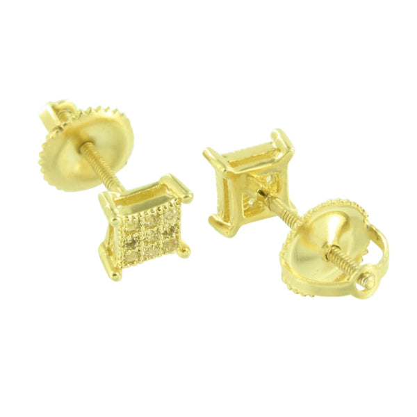 Square Shape Earrings 5 MM Studs Canary Simulated Diamonds Screw On