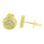 Mens Round Shape Earrings Gold Tone Canary Simulated CZ Stone