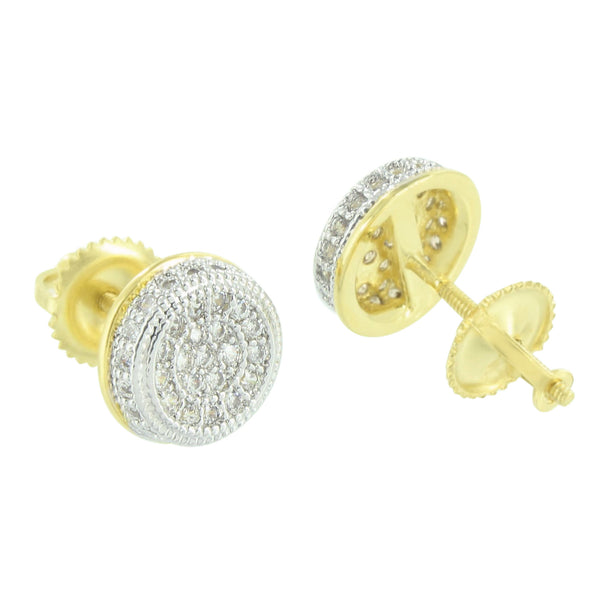 Gold Tone Earrings Round Design Studs Simulated Diamonds