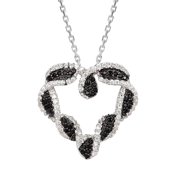 Twisted Black &White Sterling Silver Heart Pendant Valentine's