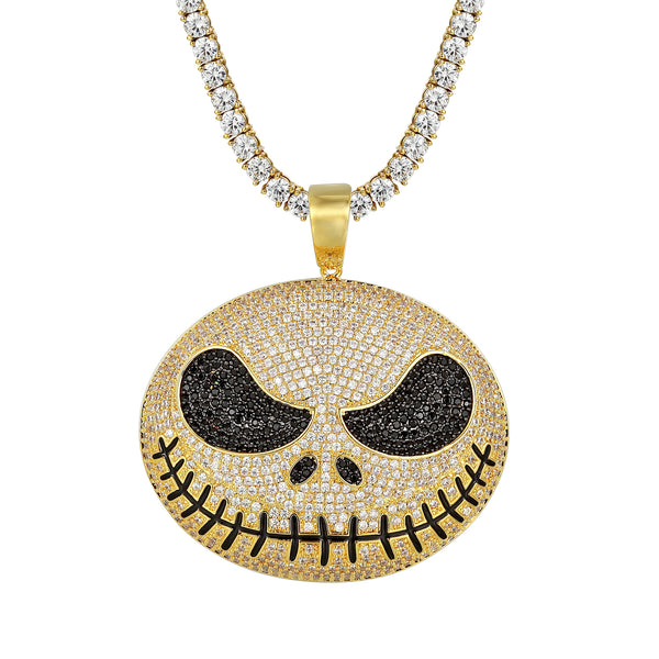 Custom Jack Skellington Face Iced Out Pendant Chain