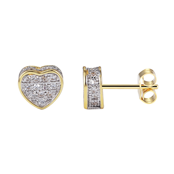 Designer Sterling Silver Fully Iced Out 14k Gold Finish Heart Stud Push Back Earrings