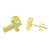 Gold Finish Cross Earrings Yellow Simulated Diamonds Screw Back
