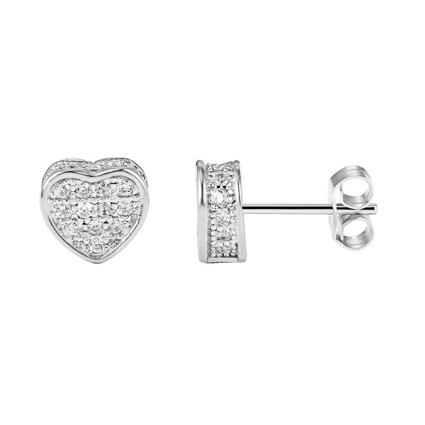 Sterling Silver Designer Fully Iced Out 14k White Gold Finish Heart Stud Push Back Earrings