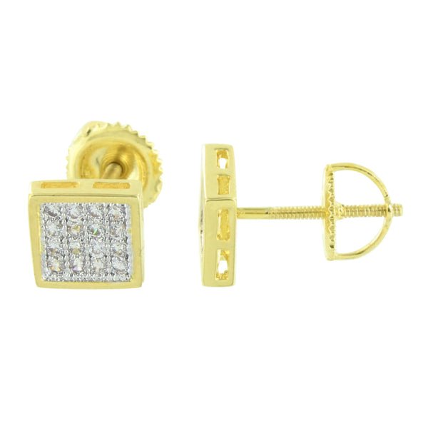 Gold Finish Square Earrings Simulated Diamonds Screw Back