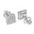 White Square Design Earrings Simulated Diamonds 7 MM Screw Back