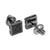Black Finish Square Earrings Studs Black Simulated Diamonds