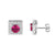 Sterling Silver Square Shape all iced Out Pink Ruby Solitaire Stud Push Back Earrings