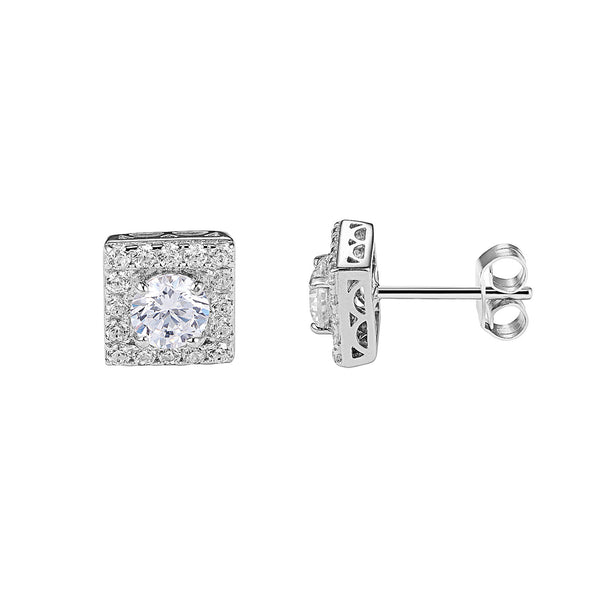 Square Shape Sterling Silver Designer Iced Out Clear Solitaire Stud Push Back Earrings