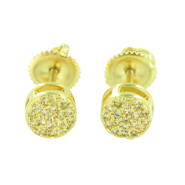 Gold Finish Round Earrings Canary Simulated Diamonds Cluster Set