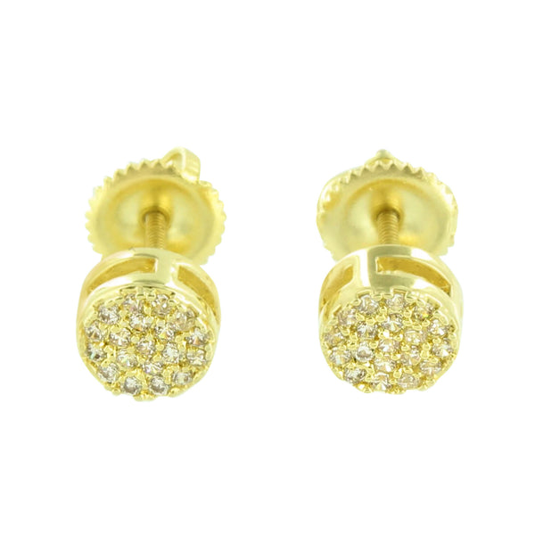 Round Shape Earrings Mens Studs Ladies Simulated Diamonds