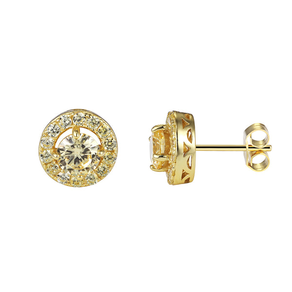 Cluster Yellow Solitaire Prong Style Iced Out 14k Gold Finish Canary Stud Earrings