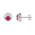 Sterling Silver Fancy Red Ruby Solitaire 14k White Gold finish Designer Push Back Earrings