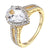 Pear Cut Solitaire Ring Engagement 14k Gold Finish Sterling Silver Wedding Women