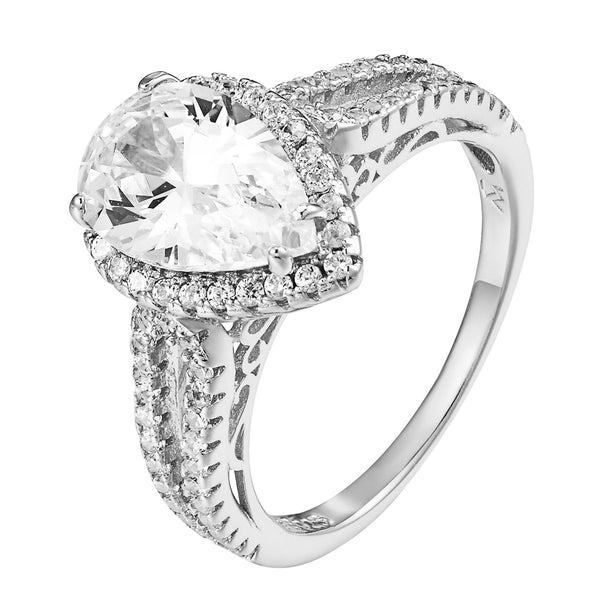Pear Cut Engagement Ring Solitaire Cubic Zirconia Sterling Silver Wedding Bridal