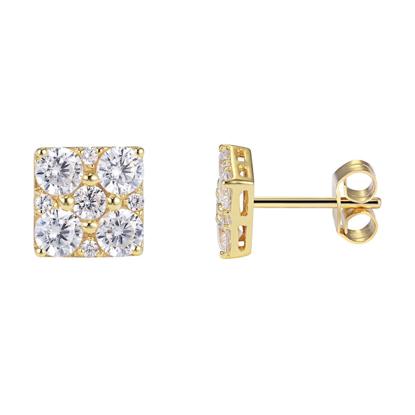 Classy Solitaire Prong Setting Square 14k Gold Over Sterling Silver Push Back Earrings