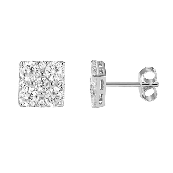 Solitaire Prong Elegant Setting Square Shape Sterling Silver Push Back Earrings