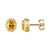 Prong Set Oval Citrine Yellow Solitaire Stud Sterling Silver  Earrings