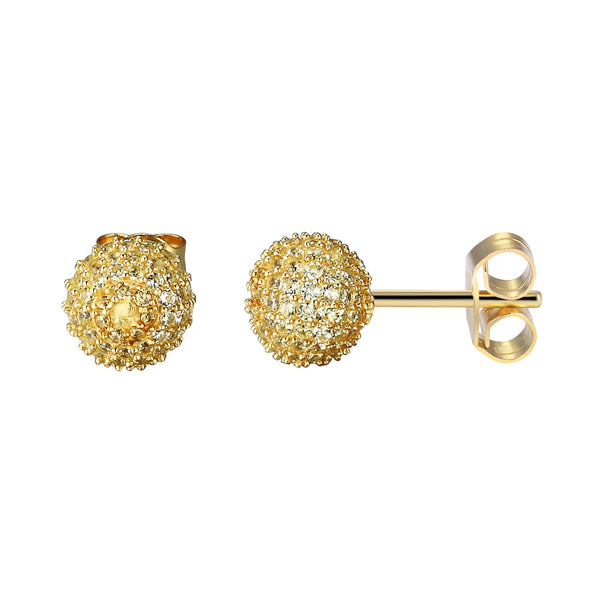 Sparkling Yellow Lab Diamonds Iced Out round Cluster Sterling Silver Ball Earrings