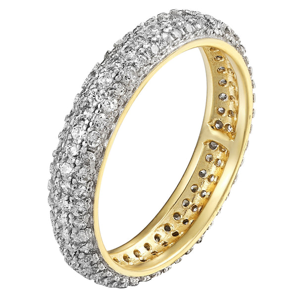 14k Gold Finish Eternity Band Wedding Solitaires Prong Set 925 Silver Engagement