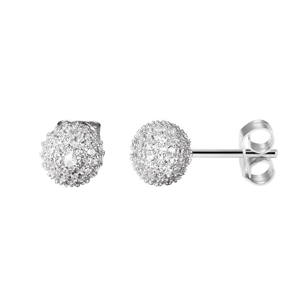 Sterling Silver Sparkling Cluster Lab Diamonds Iced out 14k White Gold Finish Ball Earrings