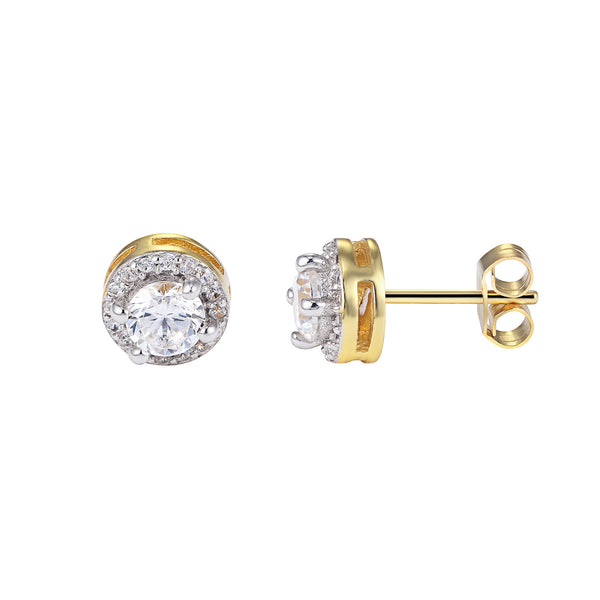 Solitaire Prong Style Cluster Iced Out Sterling Silver 14k Gold Finish Stud Earrings