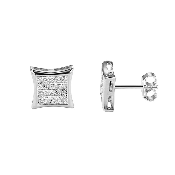 14k White Gold Finish Sterling Silver Designer Iced Out Kite Shape Small Stud Earrings