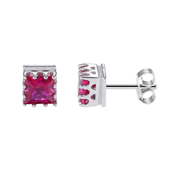 Sterling Silver Dark Cushion Pink Square Solitaire Prong Style 14k Rhodium Finish Earrings