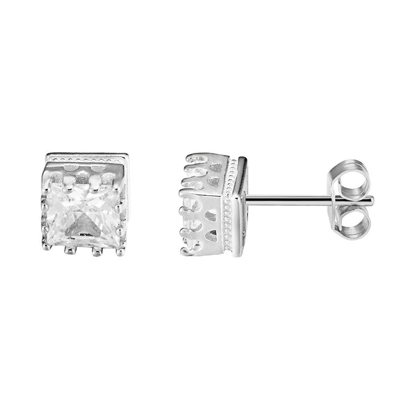 Iced Out Designer Square Shape Clear Solitaire Prong  Sterling Silver Stud Earrings