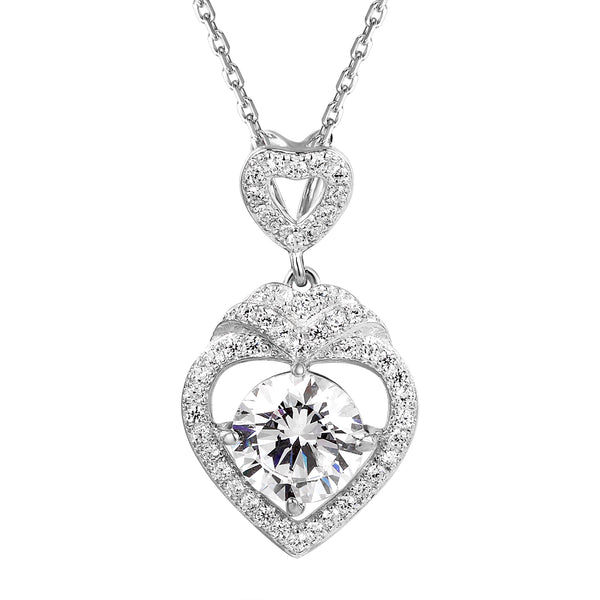 Solitaire Designer Crown Heart Pendant Valentine's Set