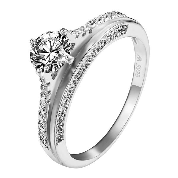 Sterling Silver Solitaire Wedding Ring Engagement .925 Cubic Zirconia Promise