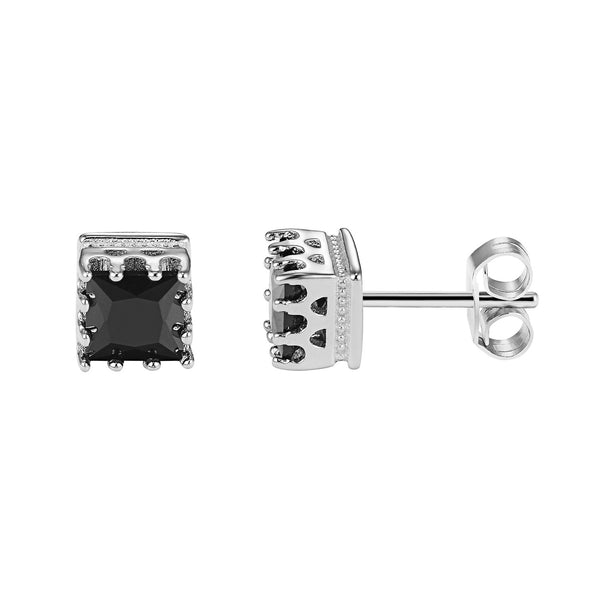 Iced Out Designer Square Shape Black Solitaire Prong Sterling Silver Stud Earrings