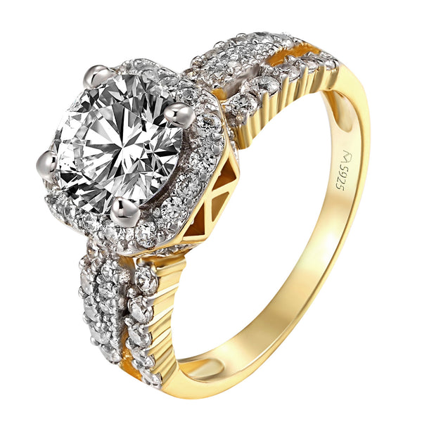Halo Ring Gold Tone Engagement Round Cut Simulated Diamond Solitaire 925 Silver