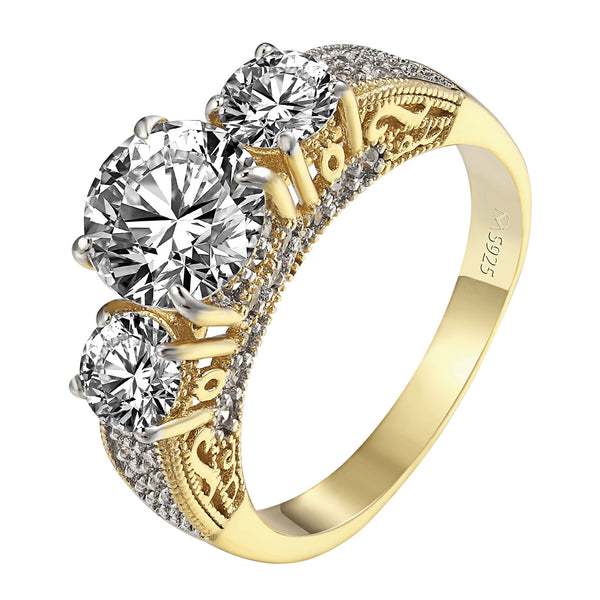 3 Solitaire CZ Ring 14k Yellow Gold Over Sterling Silver Engagement Wedding New