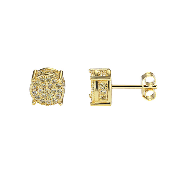 Fully Iced Out yellow Lab diamonds Round Prong Set Designer Silver Stud Earrings