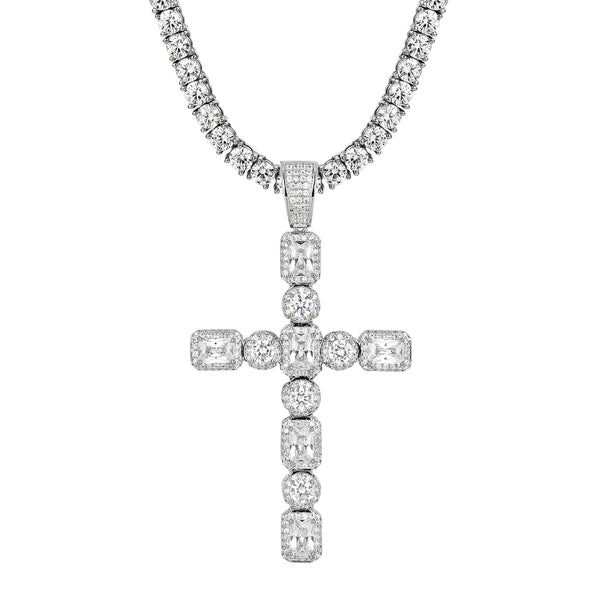 Solitaire Iced Out Designer Jesus Cross Pendant Chain