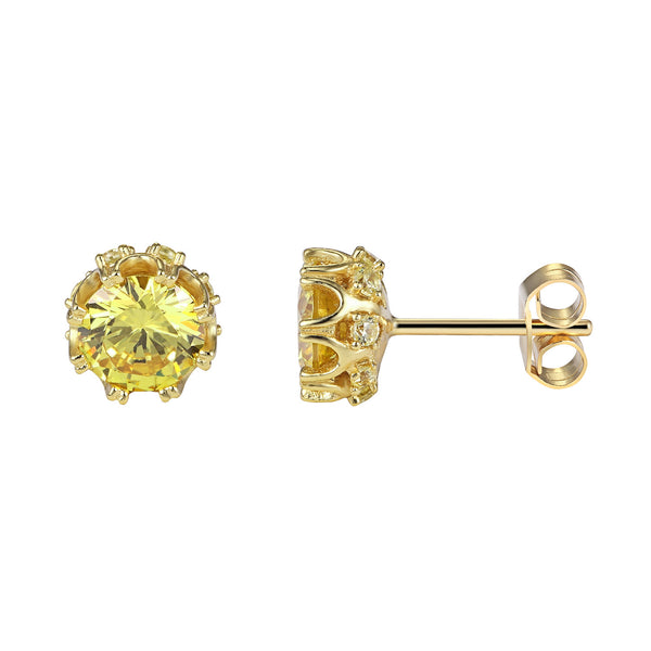 Yellow Solitaire Iced Out Petal Style Elegant Sterling Silver 14k gold Finish Earrings